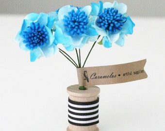 12  Turquoise Two Tone Pom paper flowers