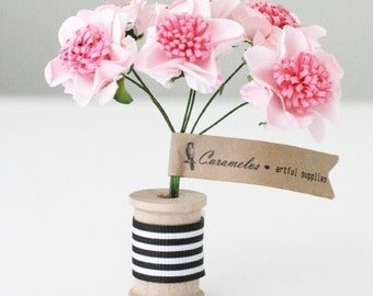 12  Pink Two Tone Pom paper flowers