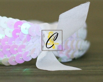 Deep Discount Clearance! 50 Yard roll of White iridescent Sequin Trim