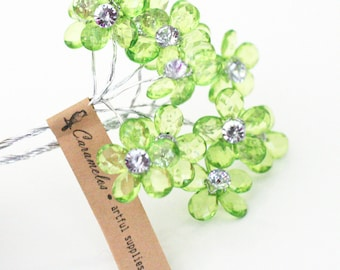 12 Crystal Clear  Green Acrylic Flowers