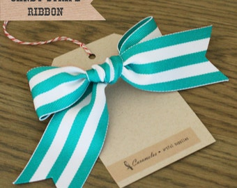 Wide Teal Candy Stripe Ribbon 3 yards