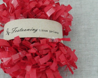 Wholesale 8 yard roll of Red Tissue Garland Fringe Trim