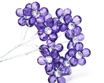 Clerance! 12 Crystal Clear Grape Acrylic Flowers
