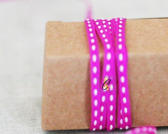 Clearance! 25 yard roll of Narrow Fuchsia with White center stitch grosgrain ribbon
