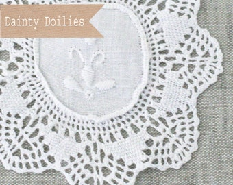 Clearance! 6 White Cotton Doilies