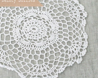 Clearance! 2 White Crochet Cotton Doilies 6.5""