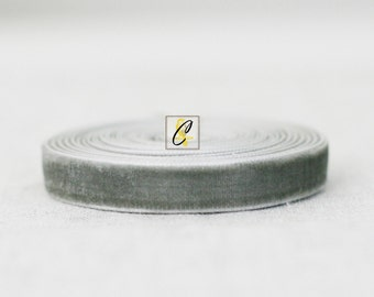 10 yd roll Gray Velvet Ribbon