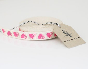 Wholesale  25 yards of pink heart twill cotton tape