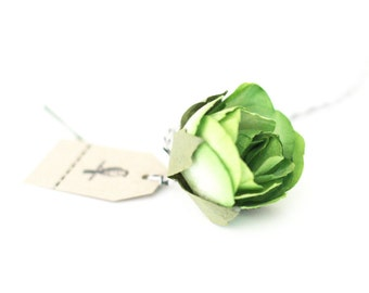 Set of 6 Large Green Millinery paper roses