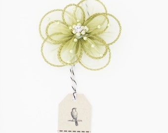 CLEARANCE! 3 Sage Green Organza Flowers