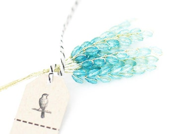 12 Turquoise Millinery Wheat Acrylic  Beaded Stems Flowers