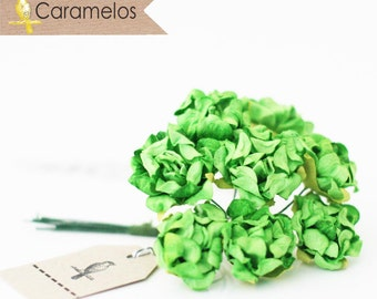 Bulk 96 Green Crinckle Millinery Paper Roses Flowers