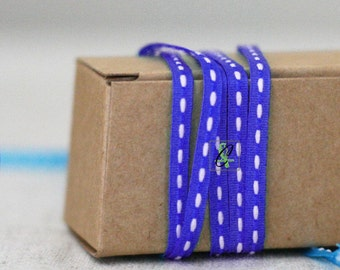 Clearance! 25 yard roll of Narrow Royal Blue with White center stitch grosgrain ribbon