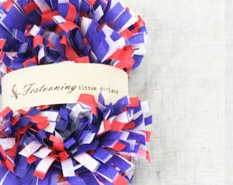 8 Yards of  Red White and Blue Tissue fringe garland