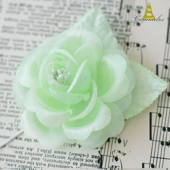 Set of 3 Mint Satin Finish Millinery Roses