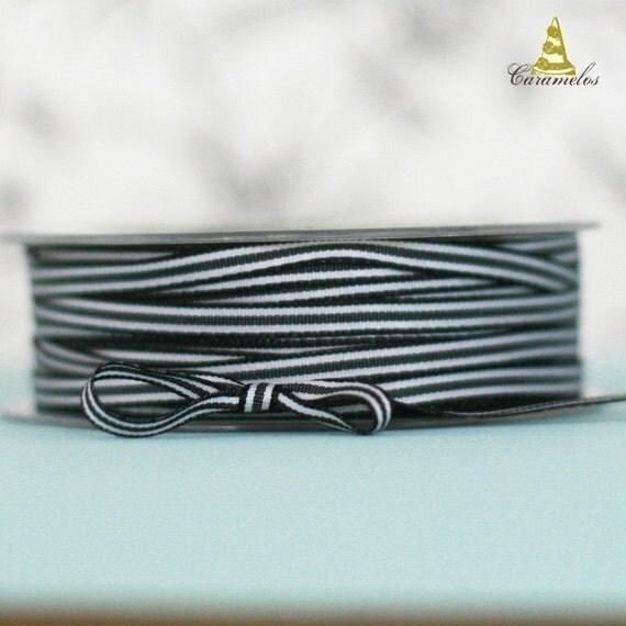 Black and White Narrow Stripe Grosgrain Ribbon