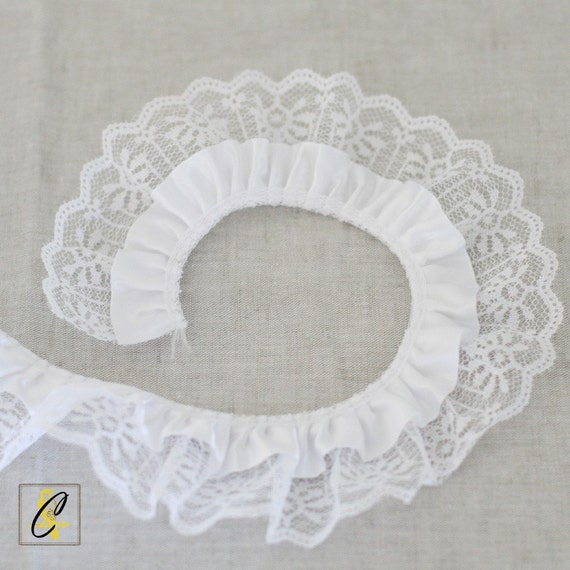 CLEARANCE!  2 yards of White Ruffled Satin and Lace Ribbon