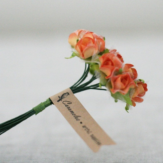 3 Bunches of  Orange paper and organza Millinery flowers