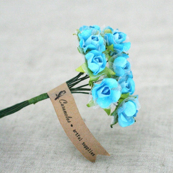 3 Bunches of  Blue paper and organza Millinery flowers