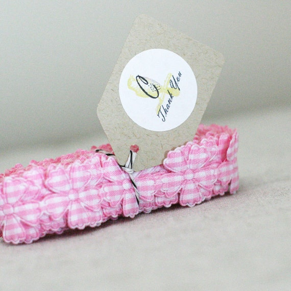 Pink Gingham Check Flower ribbon 3 yards