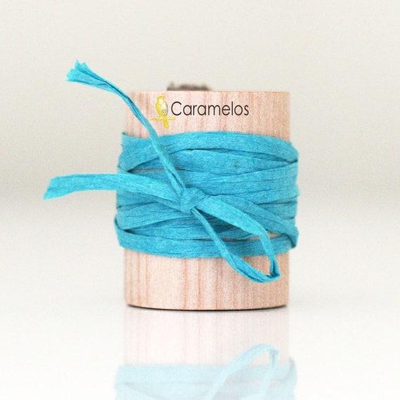 Turquoise paper raffia ribbon 15 yards