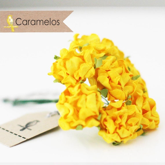 24 Yellow Crinckle Millinery Paper Roses Flowers