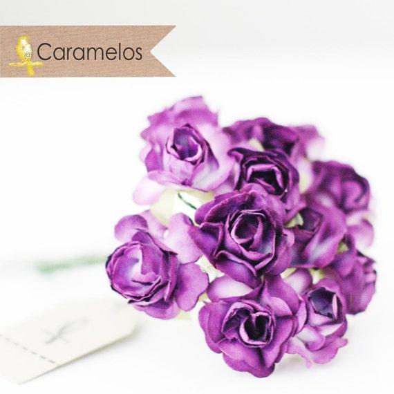 36 Purple Millinery Vintage Styel Paper Roses Flowers