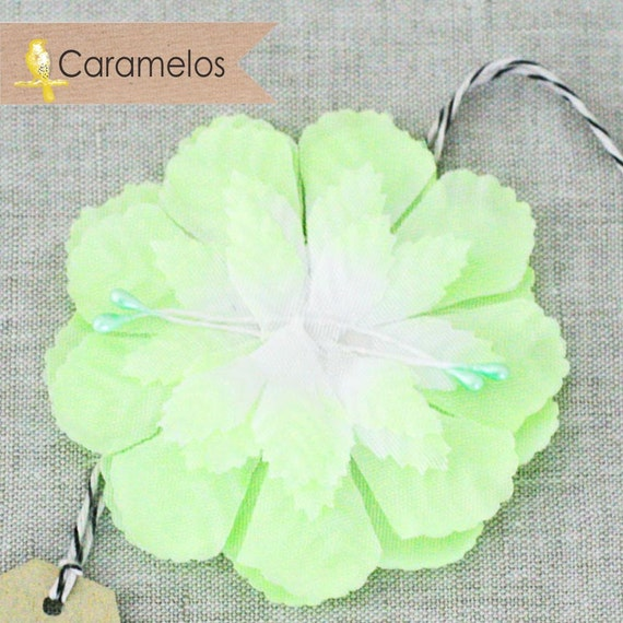 CLEARANCE! 6 Lime Green Fabric Millinery Carnation Flat Flowers