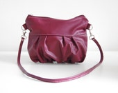 SALE - Clutch in Plum Leather - Skinny Strap - Ready to Ship