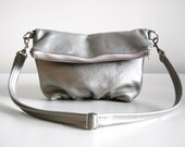 Foldover Clutch in Metallic Pewter - LAST ONE - Ready to Ship