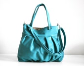 Mini Ruche Bag in Blue Turquoise Leather - LAST ONE - Ready to Ship - RESERVED