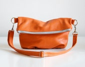 Foldover Clutch in Pumpkin Orange - LAST ONE - Made to Order