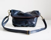 Foldover Clutch in Dark Navy Leather - Ready to Ship
