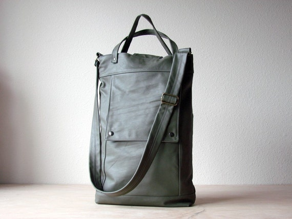 Briefcase in Army Green Genuine Leather