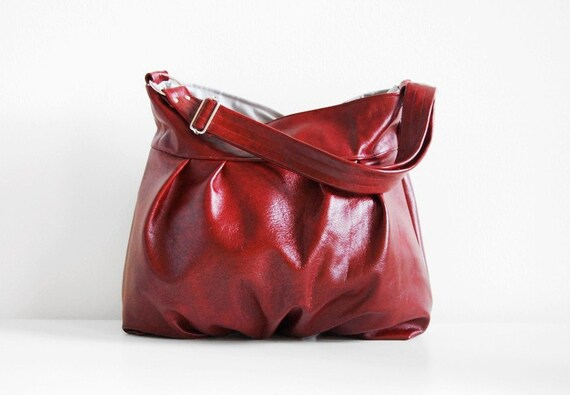 Baby Ruche Bag in Two-Toned Red Leather - LAST ONE - Ready to Ship