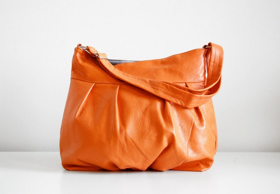 Baby Ruche Bag in Pumpkin Leather - LAST ONE - SALE - Ready to Ship