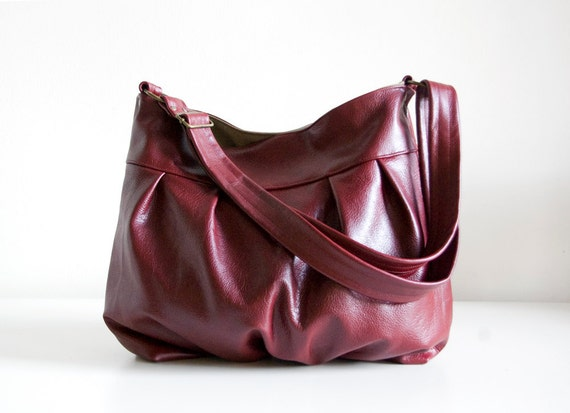Baby Ruche Bag in Cranberry Leather - LAST ONE - Ready to Ship