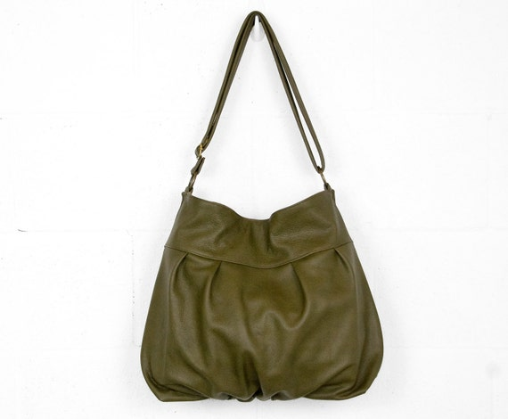 Baby Ruche Bag in Dark Olive Green Leather - LAST ONE - Ready to Ship - RESERVED