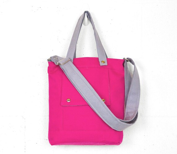 Packet in Neon Pink and Silver Canvas - Ready to Ship