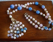 Colors of Blue Pink and White Beaded Tasel Necklace