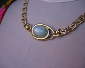 Trifari Goldtone Chain Choker Necklace with Oval Seafoam Green Cabochon