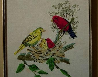 Crewel Embroidery Birdie Family
