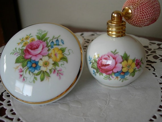 Floral Motif Porcelain Trinket and Perfume Atomizer  Vanity Duo