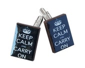 Keep Calm and Carry On Cuff links in Black