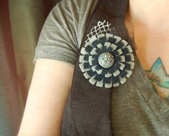 navy and grey felt brooch