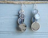 Blue Crush - Seashell and Silver Circles Dangle Earrings