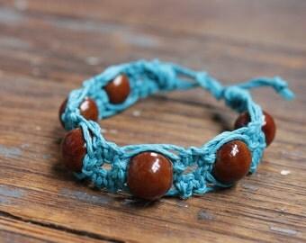 Blue Hemp Thick Bracelet with Brown Ceramic Beads
