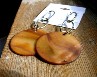 Beachy Silver and Light Brown Shell Dangle Drop Earrings