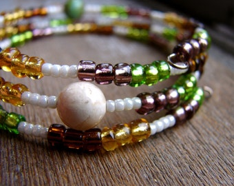 Dulcet - Glass Seed Bead and Stone Beaded Bracelet