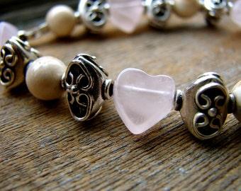 J'adore - Pink Quartz and Sterling Silver Heart Bracelet